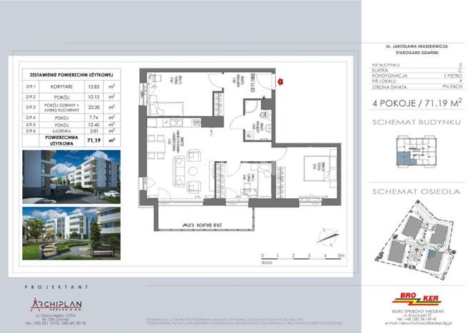 Morizon WP ogłoszenia | Mieszkanie na sprzedaż, Starogard Gdański Iwaszkiewicza , 71 m² | 8145