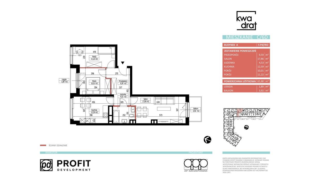 Mieszkanie w inwestycji Kwadrat, Wrocław, 66 m² | Morizon.pl | 9603