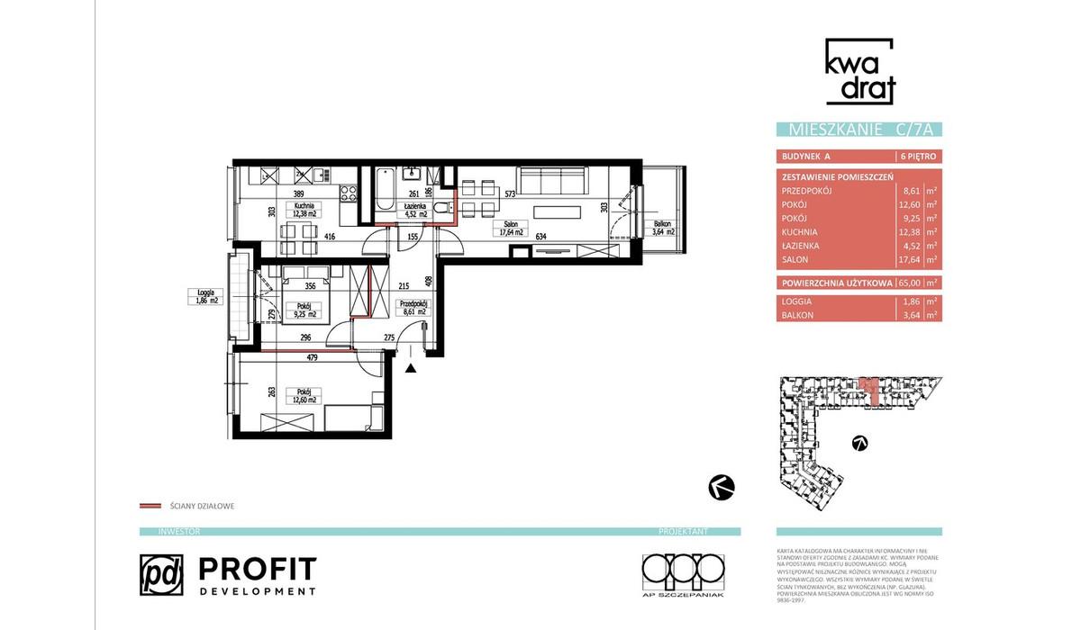 Mieszkanie w inwestycji Kwadrat, Wrocław, 65 m² | Morizon.pl | 9604