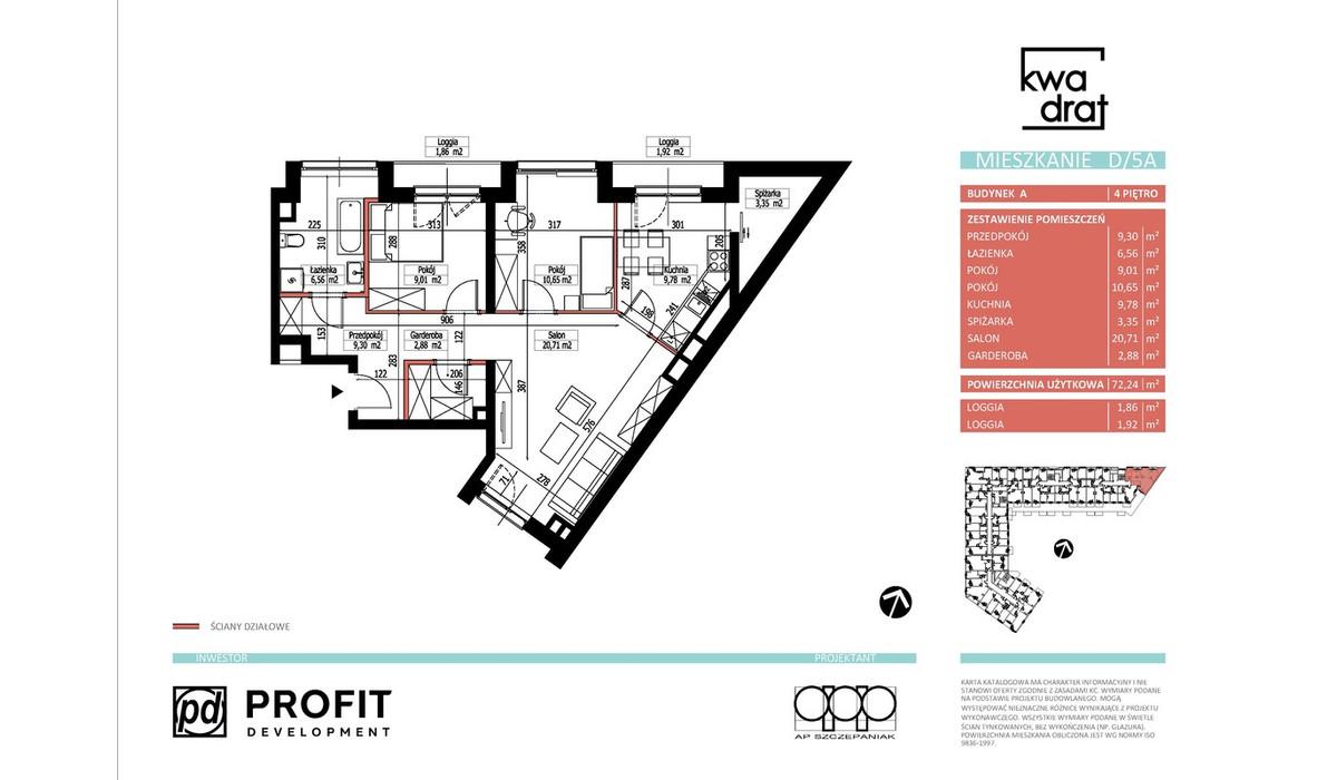 Mieszkanie w inwestycji Kwadrat, Wrocław, 67 m² | Morizon.pl | 9710