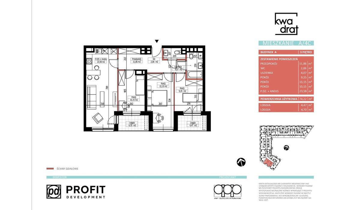 Mieszkanie w inwestycji Kwadrat, Wrocław, 73 m² | Morizon.pl | 9668