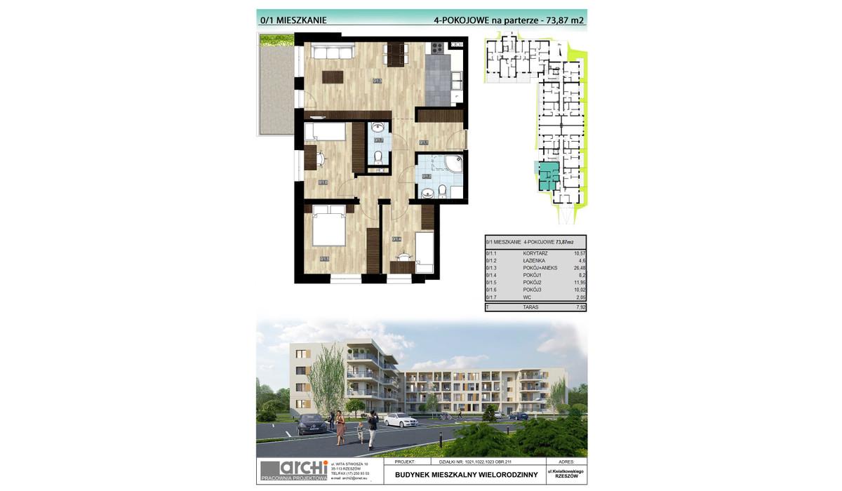 Mieszkanie w inwestycji Osiedle Kwiatkowskiego, Rzeszów, 74 m² | Morizon.pl | 9996