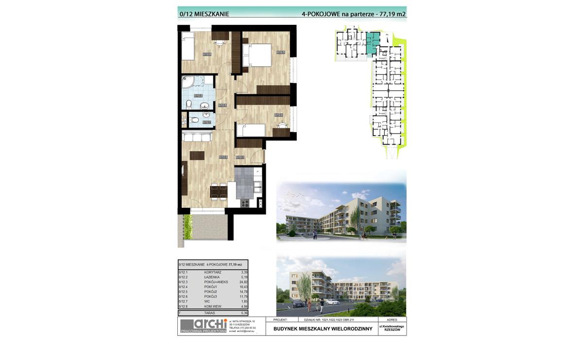 Mieszkanie w inwestycji Osiedle Kwiatkowskiego, Rzeszów, 77 m² | Morizon.pl | 9999