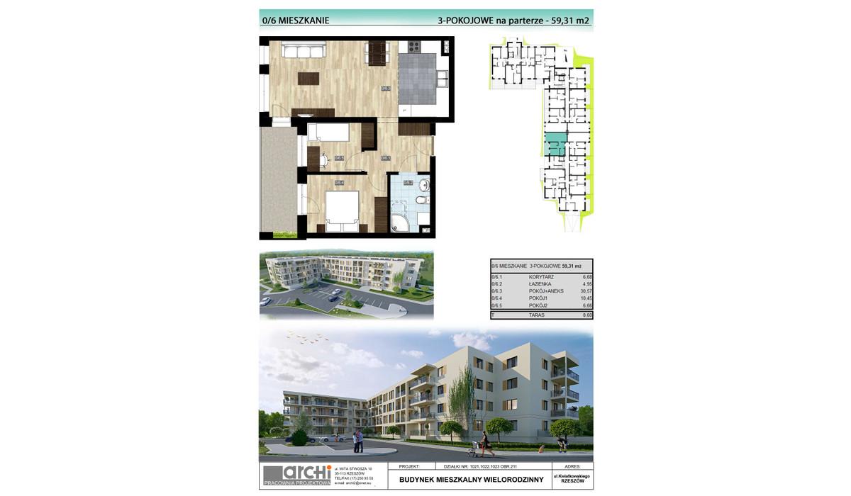 Mieszkanie w inwestycji Osiedle Kwiatkowskiego, Rzeszów, 59 m² | Morizon.pl | 0007