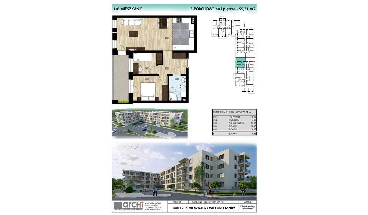 Mieszkanie w inwestycji Osiedle Kwiatkowskiego, Rzeszów, 59 m² | Morizon.pl | 0022