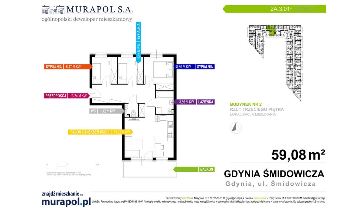 Mieszkanie w inwestycji Murapol Nadmorskie Tarasy, Gdynia, 59 m² | Morizon.pl | 1019