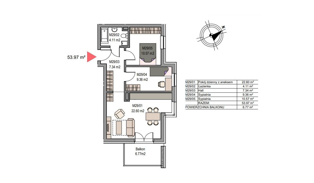 Mieszkanie w inwestycji Dębniki/Ruczaj, Kraków, 54 m² | Morizon.pl | 7488