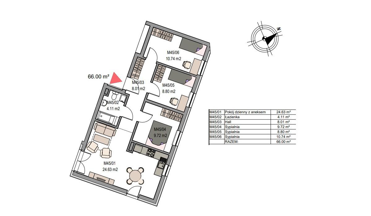 Mieszkanie w inwestycji Dębniki/Ruczaj, Kraków, 66 m² | Morizon.pl | 7495