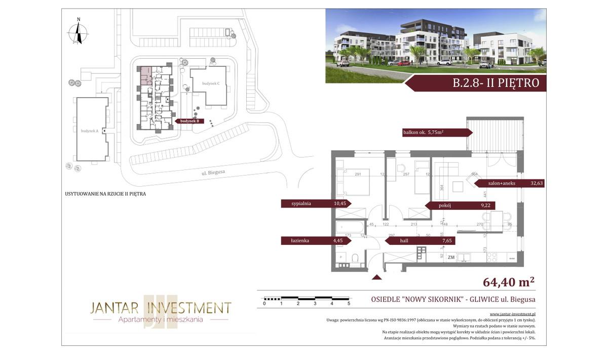 Mieszkanie w inwestycji Nowy Sikornik, Gliwice, 64 m² | Morizon.pl | 2513