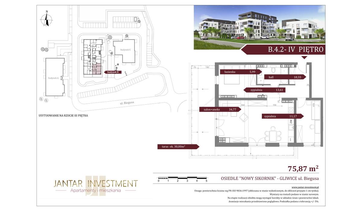 Mieszkanie w inwestycji Nowy Sikornik, Gliwice, 76 m²   Morizon.pl   2527