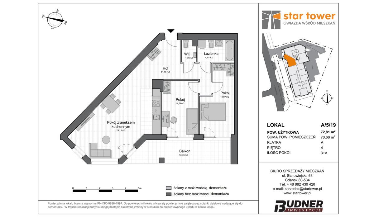 Mieszkanie w inwestycji Star Tower, Gdańsk, 73 m² | Morizon.pl | 5119