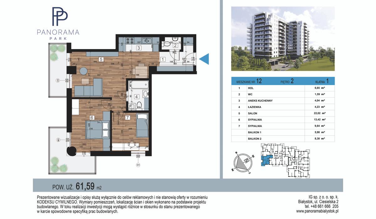 Mieszkanie w inwestycji Panorama Park, Białystok, 62 m² | Morizon.pl | 1369