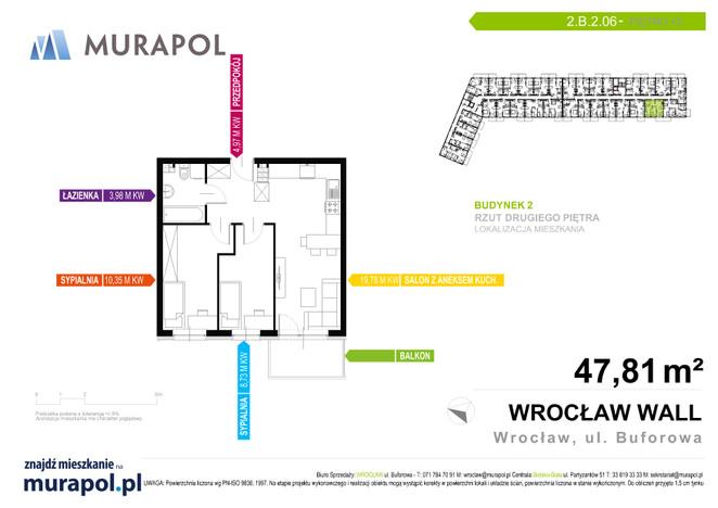 Mieszkanie w inwestycji Murapol Zielona Toskania, Wrocław, 48 m² | Morizon.pl | 3797