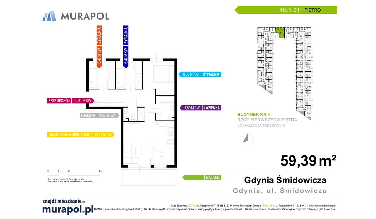 Mieszkanie w inwestycji Murapol Nadmorskie Tarasy, Gdynia, 59 m² | Morizon.pl | 1783