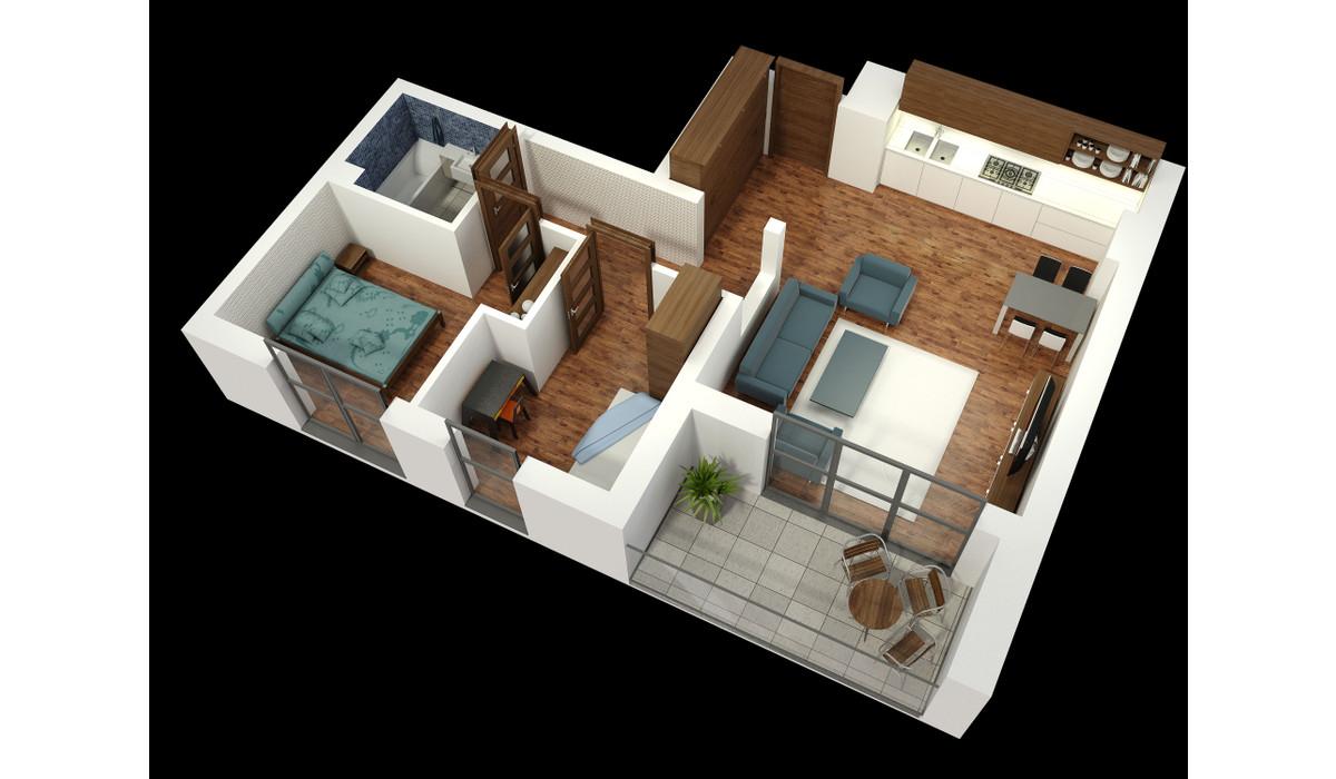 Mieszkanie w inwestycji APARTAMENTY KALISKA 26, Łódź, 62 m² | Morizon.pl | 6381
