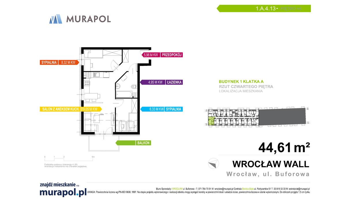 Mieszkanie w inwestycji Murapol Zielona Toskania, Wrocław, 44 m² | Morizon.pl | 7004