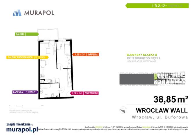 Mieszkanie w inwestycji Murapol Zielona Toskania, Wrocław, 39 m² | Morizon.pl | 7148