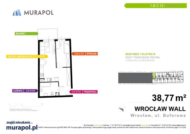 Mieszkanie w inwestycji Murapol Zielona Toskania, Wrocław, 39 m² | Morizon.pl | 7162