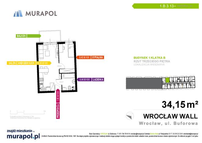 Mieszkanie w inwestycji Murapol Zielona Toskania, Wrocław, 34 m² | Morizon.pl | 7163