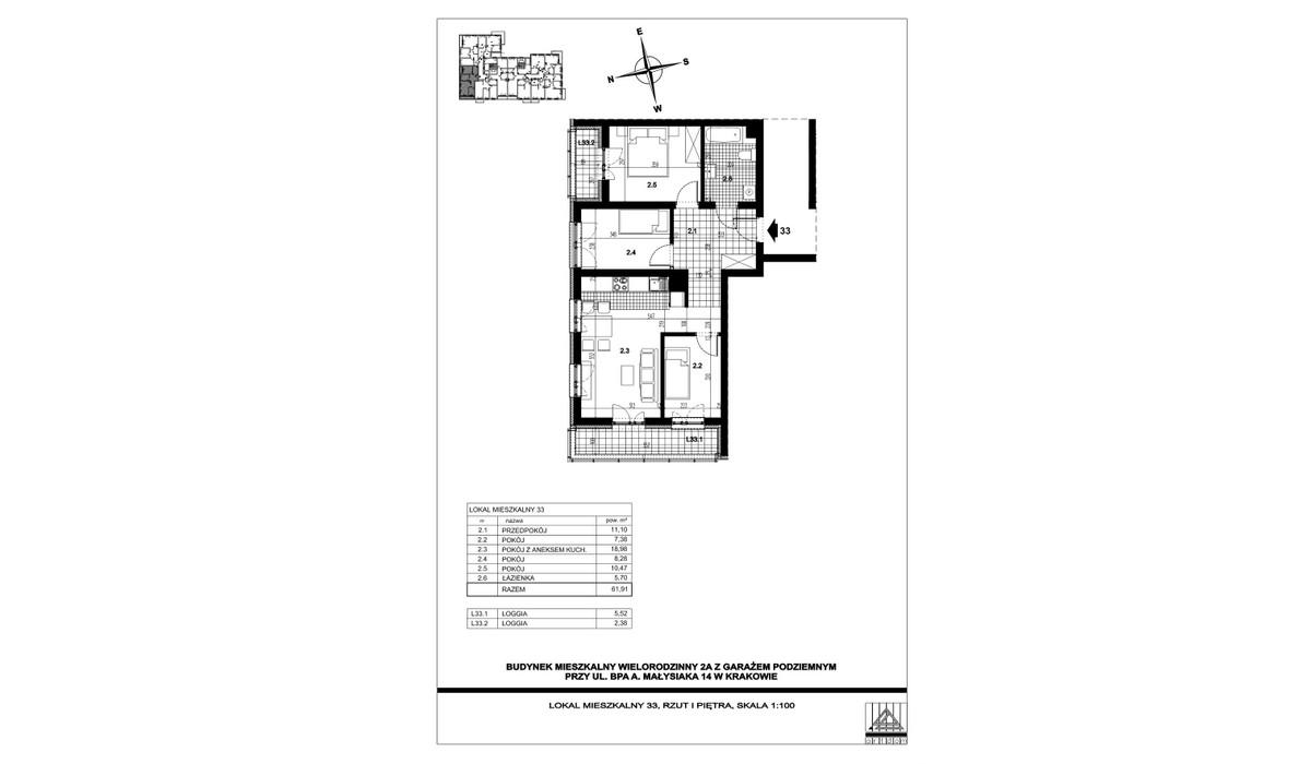 Mieszkanie w inwestycji ul. bpa A. Małysiaka, Kraków, 62 m² | Morizon.pl | 5825