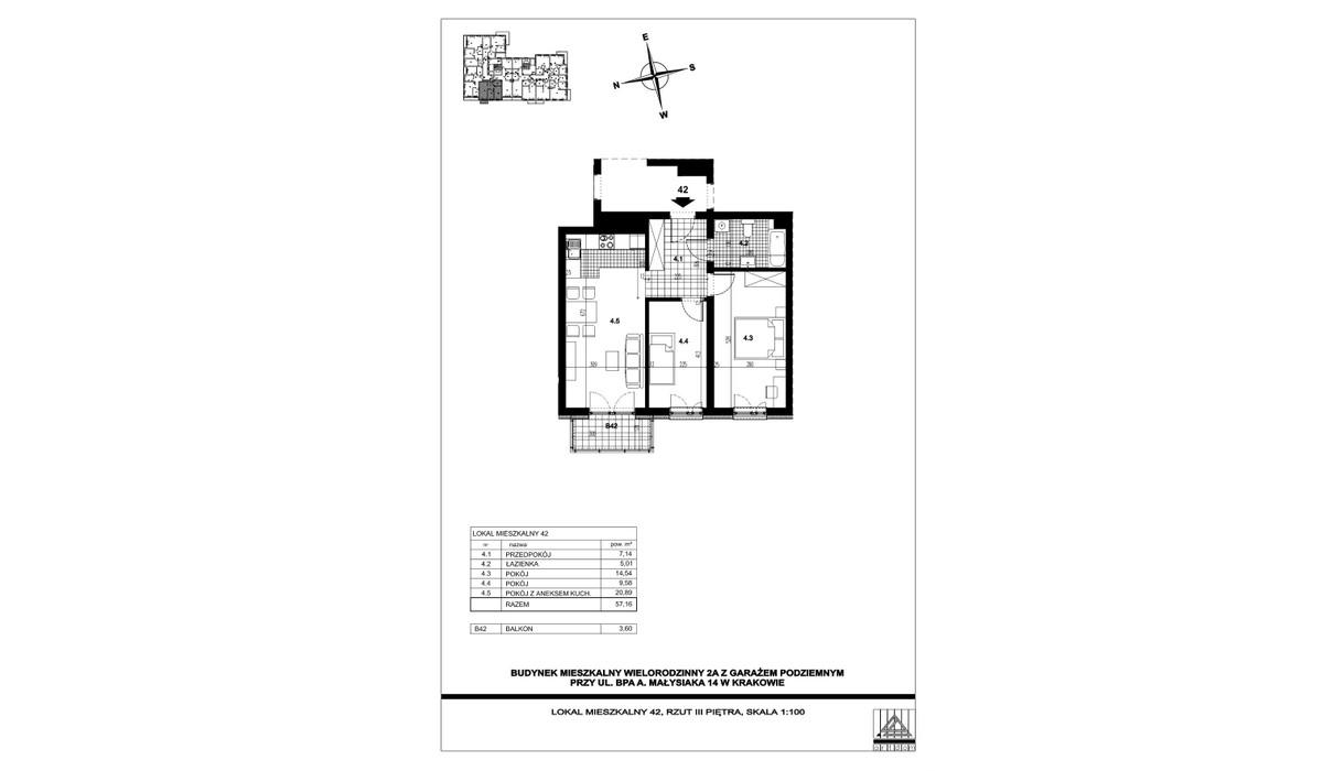 Mieszkanie w inwestycji ul. bpa A. Małysiaka, Kraków, 57 m² | Morizon.pl | 5833