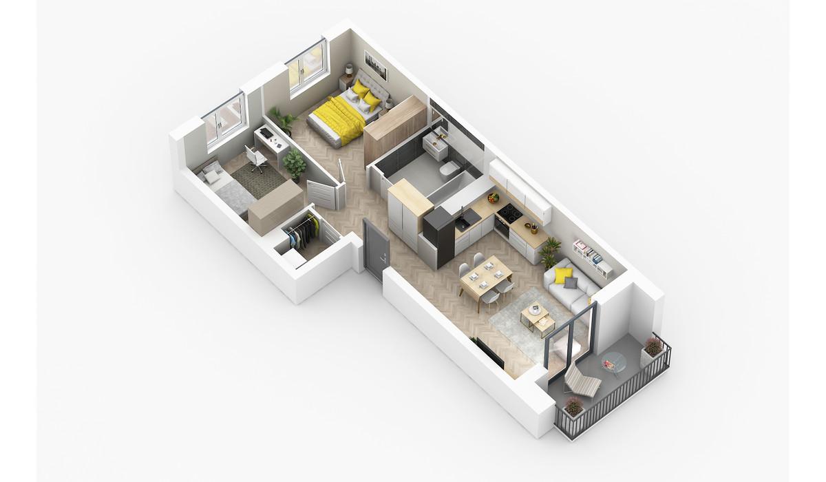 Mieszkanie w inwestycji Golden Space, Warszawa, 59 m² | Morizon.pl | 5755