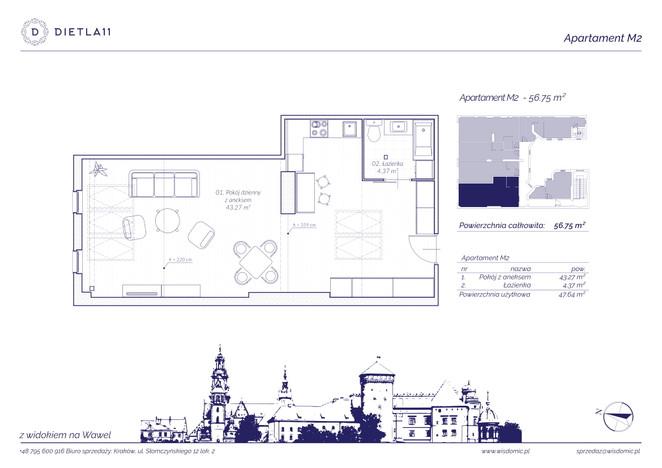 Mieszkanie w inwestycji Dietla 11, Kraków, 57 m² | Morizon.pl | 8030