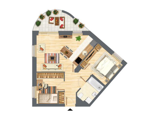 Morizon WP ogłoszenia | Mieszkanie w inwestycji Słowackiego 77, Gdańsk, 54 m² | 5201
