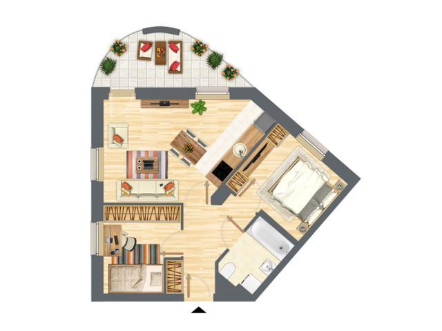 Morizon WP ogłoszenia | Mieszkanie w inwestycji Słowackiego 77, Gdańsk, 54 m² | 5202